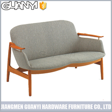 simple wooden frame leather double seats home furniture