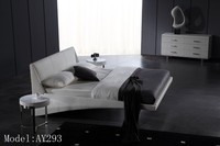 Simple style white leather upholstered bed cheap bedroom furniture