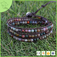 3 Wrap India Style Agate Bead on Natural DIY Woven China Manufacturer Bracelet