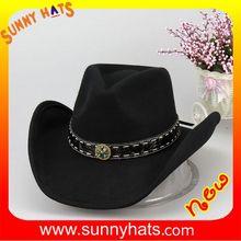 Vintage 100% Black Wool Felt American Cowboy Hat Wholesale Made In China Dongguan Factory