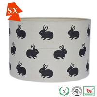 circles hare animal light cover farm yard linen fabric PVC black lampshade