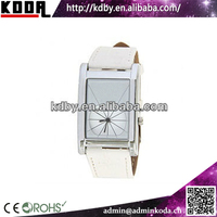 Square Case White Dial Leather Western Wrist Watches with Strips Hour