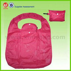Red Reusable Nylon Folding Shopping Bag,Economic Foldable Bag