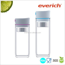 2015 hot selling double wall plastic travel mug with tea infuser