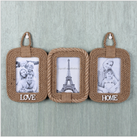 Customized Home Decor Hemp Rope+MDF Photo Frame Ornaments