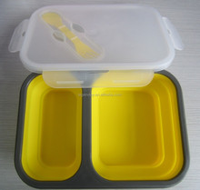 FDA &LFGB Cetificated 2 Compartment Silicone Lunch Box With Lids