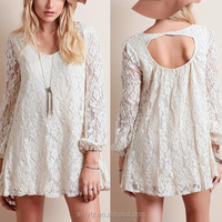 Anly wholesale new arrival women sexy short mini white lace dress with long sleeve deatil