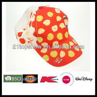 fashion baby hat printing child cap with velcro closure