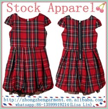 baby girl dress plaid apparel stock for 7-13 years old