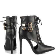 new women sexy hollow bind pointed ankle boots
