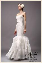 Europeos y americanos estilo !!! Sexy vestido de novia de sirena apretado amor del estilo elegante de la flor del cordón 2015