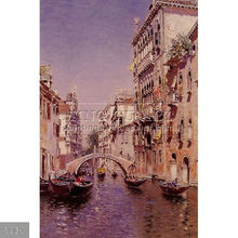 Handmade famous Landscape art boat paintings on canvas by Martin Rico y Ortega, The Sunny Canal