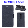 China supplier Linen Texture leather stand case for Moto X Syle cover
