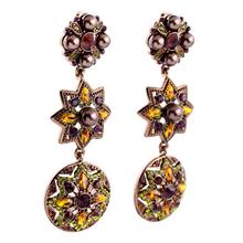 Fashion earrings colorful rhinestone inlay three geometry shaped hollow alloy pendant earrings,clip on ear drop