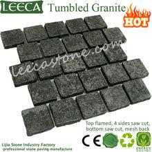 Black basalt flamed running bond paving stone