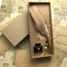 LS802-B Feather pen set With Gold Turkey feather pen & ink bottle