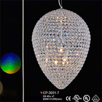 oval shape big crystal chandelier with drops of crystals best quality candle burning lamp
