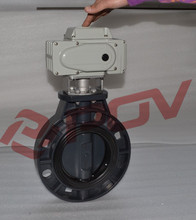 Electric on off water butterfly valve dn100 upvc plastic wafer type valve