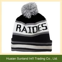 W-1045 Acylic crochet custom pom hat wholesale sports boys pom knitted beanie hat