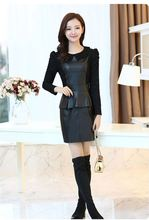 832 # Korean version of the new fall and winter clothes Slim thin big yards lace long-sleeved dress plus velvet pu leather skirt