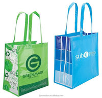 Eco Friendly Shopping Bag laminated non-woven polypropylene long handled stylish shopping tote bags