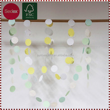 Colored paper star and round string hanging for party decoration