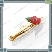 Fashion high quality gold metal gift tie clip red poppy tie bar making machine