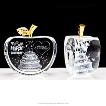 Logotipo personalizado grabado láser K9 crystal apple en forma de cristal trofeo premio