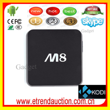 2015 Top Quality Full Loaded Kodi 14.2 Amlogic S802 Quad Core M8 Android Smart TV Box Can Do OEM/ODM Print Your Own Logo