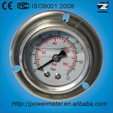 (YTN-40BD) back connection 40mm oil pressure gauge with flange double reading 12 bar 140 psi