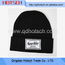 High quality woven fabric arcylic beanie with custom logo and l