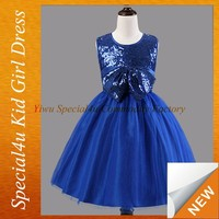 Royal blue sequin top big bow fashion dresses for 2-8 years girl SFUBD-1002