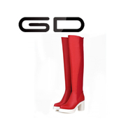 Colorful soft leather over the knee high heel boots for women