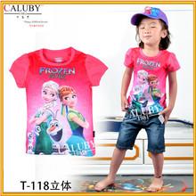 Girls t-shirt with chest print frozen elsa anna wear cartoon frozen fever t shirt