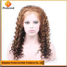 Premium Highlight color 8#/613# Jerry Curl Brazilian human hair wig, full lace wig with baby hair