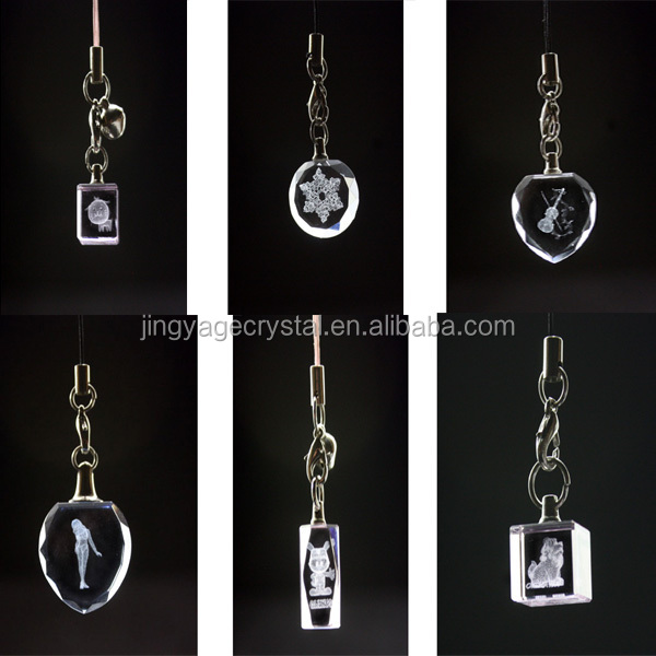 3D Laser Butterfly Crystal Keychains