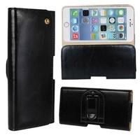 Crazy Horse Texture Waist Belt Clip Holster Flip Genuine Leather Case for iPhone 6 Plus