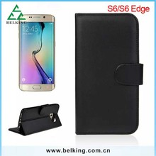 Wholesale Wallet Case For Samsung S6 Edge, For Samsung S6 Edge Cell Phone Leather PU Credit Card Slot Case