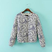 Round neck women winter coats 2015 latest fashion jacket chinese style printed cotton coat custom varsity jackets