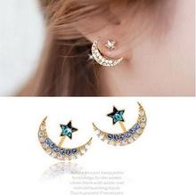 South Korea stars hung bright blue moon diamond crystal earrings female fashion ear accessories