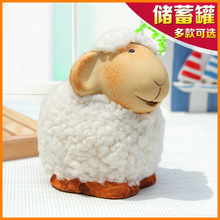 Cute little stuffed sheep ceramic piggy bank ornaments crafts creative gifts home decorations Meng things