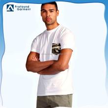 Men's 100% organic cotton t shirt with camo printing pocket