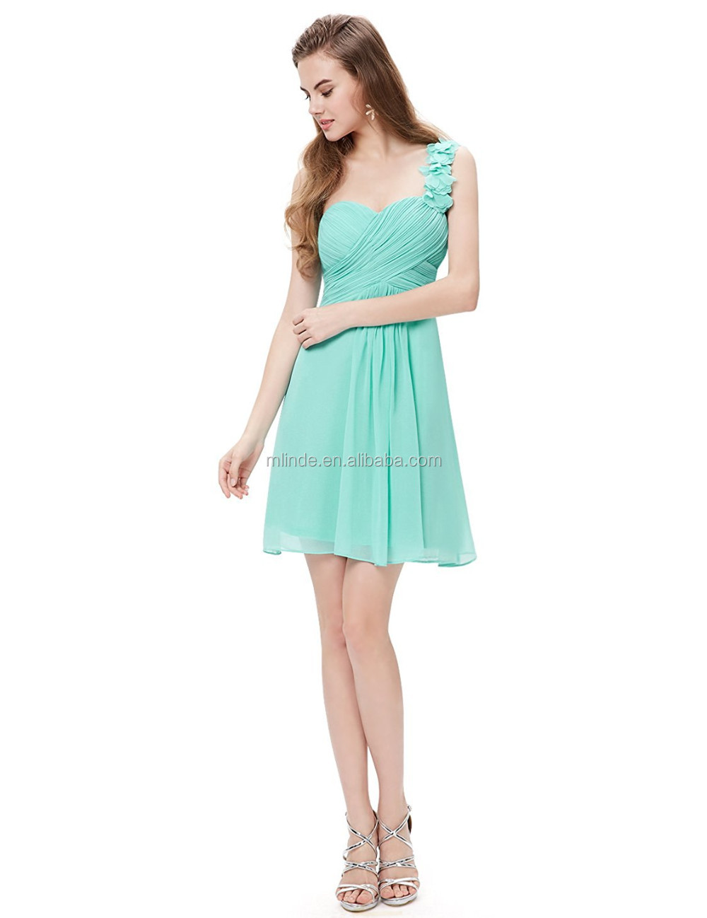 Mint Green Bridesmaid Dresses One Shoulder Flowers Padded Ruffles ...