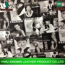 printing fashion magazine pvc leather srock lot