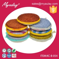 2015 Factory wholesale Round Double-sided Kitchen Cleaning Dish Washing Up Scouring Pad Sponge Scrubber KC-B-054