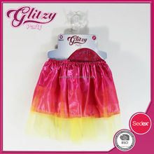 ST-1013 2015 New Arrival Top Quality Red & Yello Color Girls Fashion Dress with Wing Kids Party Fairy Dress