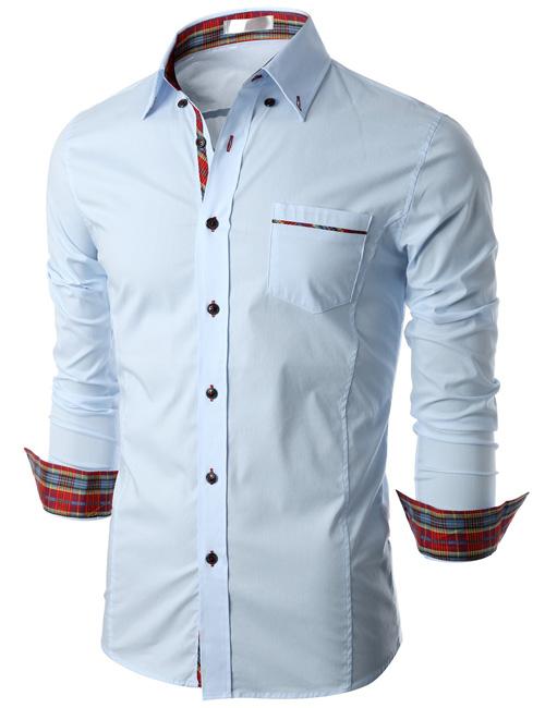 Mens contrast cuff fashion black dress shirt with white for Mens dress shirts with contrasting collars and cuffs