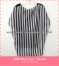 Estilo europeo de 2014 por mayor marca superior modelos de blusas para verano Camisa de rayas manga dolman