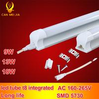 25pcs/lot Led Tube T8 600mm Integrated Tubete Epistar Smd 5730 Home Lighting T8 Led Tube 2ft Light 220v 9w White