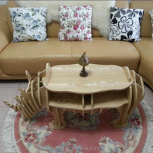 Wooden Material and carved Rhino Appearance coffee table for home use